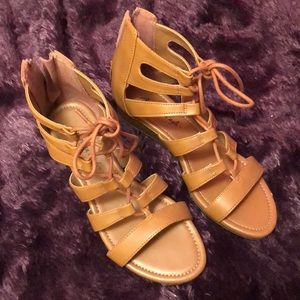 Ankle strap boho wedge sandals- size 5